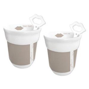 bacimilano tazza beige 300x300 - Tazze da cappuccino con cucchiaino Baci Milano Beige