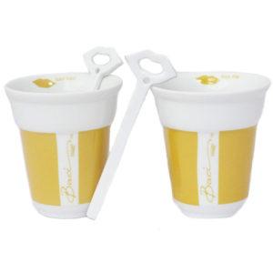 bacimilano tazza giallo 300x300 - Tazze da cappuccino con cucchiaino Baci Milano Giallo