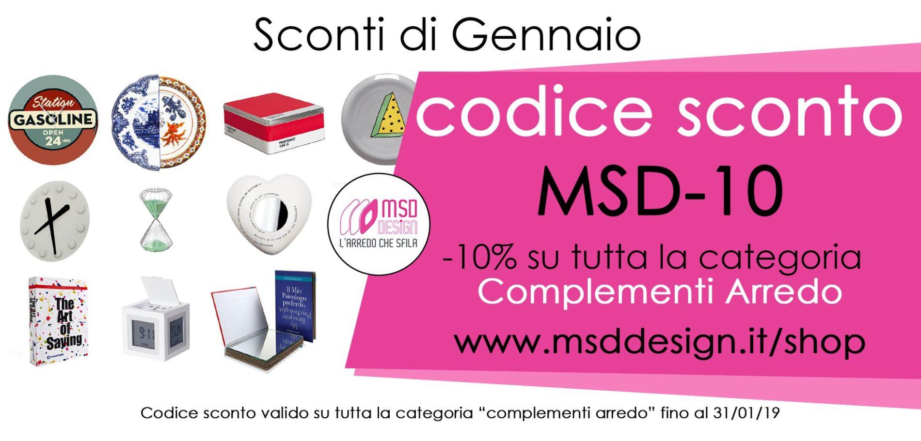 codice sconto gennaio msddesign - SCONTI DI GENNAIO codice sconto MSD-10